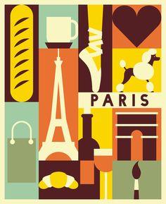 City poster cartel de ciudad vintage Paris print por Chachaprints