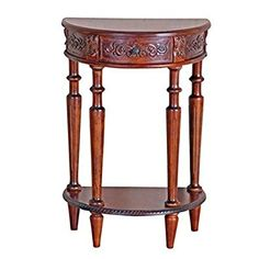 Bowery Hill Half Moon Console Table In Dual Walnut Stain Review