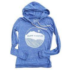 83722155696ca Believe in Mountains Women s Lightweight Hoodie in Blue