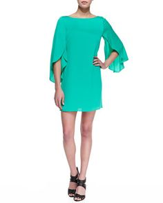 Butterfly-Sleeve Short Shift Dress, Jade  by Milly at Neiman Marcus.