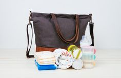 Unisex waxed canvas Diaper BagLarge Tote Diaper Bag6 by BwwBag