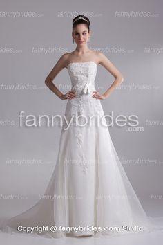Affordable Applique Princess Garden Bridal Gown - Fannybrides.com