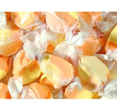 Get ready for a double thumbs up for yumminess because these Apricot Salt Water Taffies are super delicious! In a pale orange coloring. Taffy Apple Salad, Apple Salad Recipes, Candy Recipes, Gourmet Recipes, Snack Recipes, Taffy Recipe, Candy Craze, Taffy Candy, Gourmet Salt