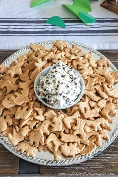 Lucas' Zoo Themed 3rd Birthday Party animal crackers and chocolate chip cookies dip