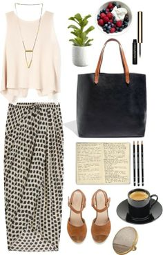 A fashion look from September 2013 featuring sleeveless shirts, pleated maxi skirt and strappy sandals. Browse and shop related looks. Modest Fashion, Love Fashion, Fashion Outfits, Womens Fashion, Fashion Clothes, Korean Fashion, Spring Summer Fashion, Spring Outfits, Cool Outfits