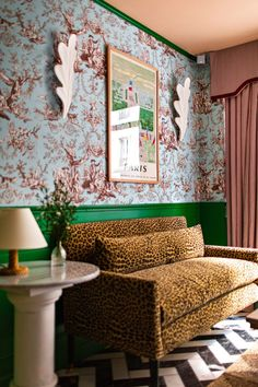A clashing mix of pea-green walls, leopard-print furnishings and candy-striped beds feature in this hotel that British designer Luke Edward Hall has completed in Paris. David Hicks, Art Deco Furniture, Furniture Styles, Hotel Panache, Easy Painting Projects, Edward Hall, Printed Sofa, Bright Decor, Bathroom Interior Design