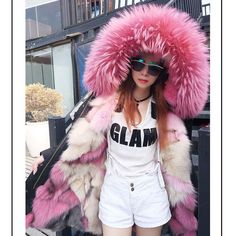 2017 new fashion women luxurious Large raccoon fur collar hooded coat warm Fox fur liner parkas long winter jacket top quality Cute Jackets, Long Jackets, Simple Outfits, Fall Outfits, Work Outfits, Fur Fashion, Womens Fashion, White Faux Fur Coat, Long Winter Jacket