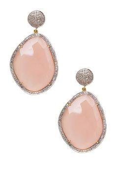 Pave Diamond Opal Drop Earrings