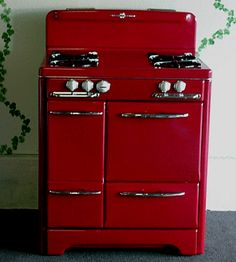 """Red Custom Colored 32"""" O'keefe & Merritt Antique Gas Stove"""