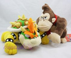 "New Super Mario 8"" Donkey Kong & 10"" Bowser King Koopa Stuffed Plush Toy #Unbranded"