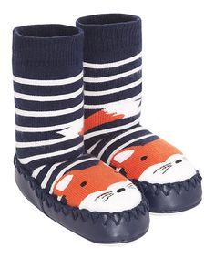Look at this #zulilyfind! Navy Stripe Fox Slipper Socks #zulilyfinds