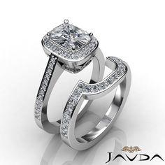 Halo Bridal Set Cushion Diamond Pave Engagement Ring EGL F VS1 Platinum 1 86 Ct | eBay