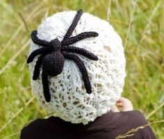 a3be0c33ffe Charlottes Web Hat Knitting Pattern lace hat with spider Halloween Knitting  Patterns