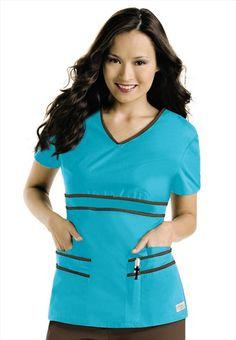 cc9187e0cd6 Urbane contrast trim v-neck empire waist scrub top. Medical Uniforms, Scrub  Tops