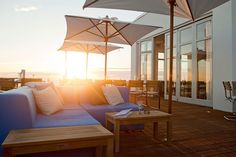 Terrace at the Vesper Hotel in Noordwijk is the first boutique hotel on the beach in the Netherlands /// More on Interiorator.com