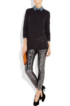 What a cute way to dress down the sequin pants