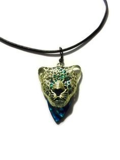 Gold Jaguar Pendant with Leather Chord Necklace Blue by missy69