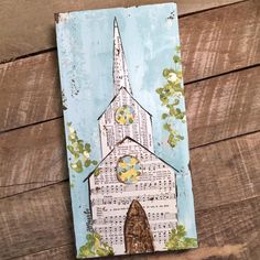 sheet music for a church picture. Diy Painting, Painting On Wood, Painting & Drawing, Christmas Paintings, Christmas Art, Bible Art, Scripture Crafts, Hymn Art, Church Pictures