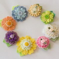 Felt Flower Hair Clip - Pure Colors in Pastels - ALL the COLORS by PrettyinPosies on Etsy