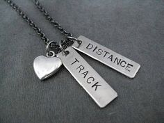TRACK Love DISTANCE or EVENT Necklace  Heart or Shoe by TheRunHome