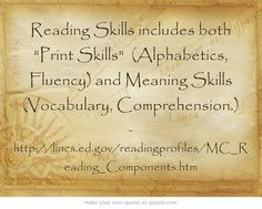 COMPONENTS OF READING: Research based instruction for teaching adults to read from LINCS.