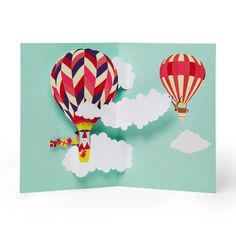 Hot Air Balloon Santa Holiday Cards - Set of 8 in color Pop Up Greeting Cards, Pop Up Cards, Birthday Greeting Cards, Holiday Cards, Christmas Cards, Merry Christmas, Modern Office Decor, Holiday Pops, 3d Cards