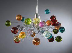 Pendant lighting. Colorful jumpy bubbles.