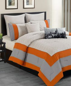Look at this #zulilyfind! Orange Toledo Overfilled Comforter Set #zulilyfinds comforter, bed skirt, two shams, two Euro shams, two decorative pillows $79.99 for queen size.