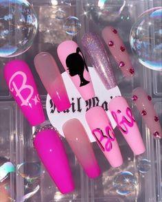 Disney Acrylic Nails, Pink Acrylic Nails, Pink Leopard Nails, Gorgeous Nails, Pretty Nails, Glue On Nails, Gel Nails, Pop Art Nails, Jolie Nail Art
