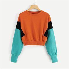 fa0b687672a Buy Women s Crew-neck Color Block Sweatshirt Long Sleeve Patchwork at  Narvay.com.