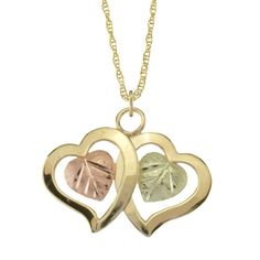 Gold Dual Hearts Pendant & Necklace