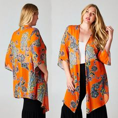 PLUS Boho Orange Paisley Hippie Kimono Sheer Chiffon Duster Jacket Top 1X 2X 3X #tamarstreasures #Duster #Casual