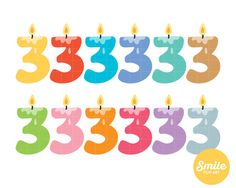 Number 3 Birthday Candle Clipart for Commercial Use - C0068