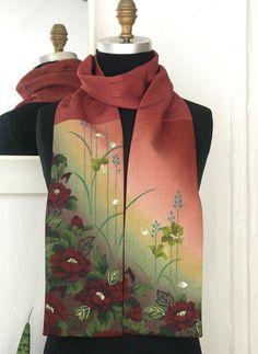 Amazing Japanese Vintage Kimono versatile silk scarf by Wabiske,  40.00  Jacquard Fabric, Kimono Fabric 79007679892