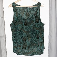 Forever 21  Teal & Gold Tank Top Floral tank top, light and dark teal. Loose fit, very light fabric. Can be dressed up or down - pair with skirts or pants! In great condition. Non-smoking and no-pet home. Forever 21 Tops Tank Tops