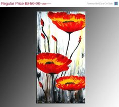 NOW ON SALE Original Poppies Painting Acrylic 2ftx4ft Impasto Tick Texture Poppies Garden by ANDYARTSTUDIO on Etsy