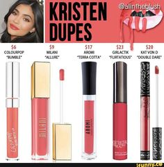 Best Ideas For Makeup Tutorials : Kylie Jenner lip kit dupes for Kristen Kylie Dupes, Kylie Lip Kit Dupe, Kylie Jenner Lip Kit, Kylie Jenner Lipstick Dupes, Kendall Jenner, Drugstore Makeup Dupes, Makeup Swatches, Beauty Dupes, Kat Von D