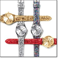 """Glitter Sparkle Strap Watch* It's party time with these 9"""" L glitter strap watches. Brochure: intro special $12.99 each Will be $19.99"""