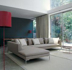 Living Room sofa -- chaise on left. Sofa: CHARLES - Collection: B&B Italia - Design: Antonio Citterio Modular Furniture, Modular Sofa, Sofa Furniture, Contemporary Furniture, Furniture Design, Contemporary Fabric, Canapé Design, Sofa Design, Living Room Trends