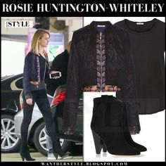 Rosie Huntington-Whiteley in black bomber jacket, black skinny jeans and black suede ankle boots