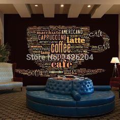 Custom European style leisure Coffee shop English letters 3d large murals theme restaurant bar background wallpaper mural