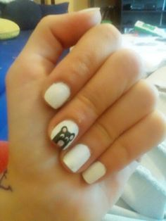 #white #nails #cute #bear