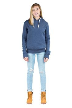 Women Blue Pullover Hoodie with side zip pockets. Long sleeve 740dff540d