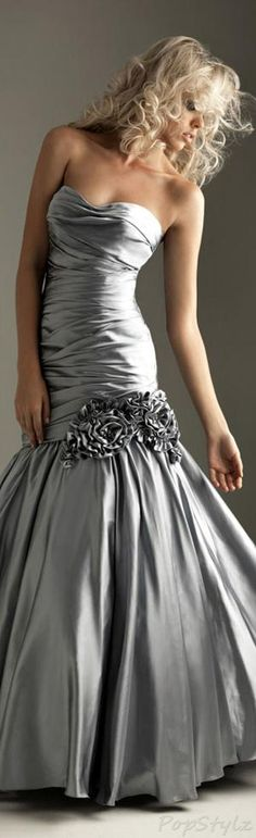 Night Moves Silver Evening Gown by carla.meisberger.vaught