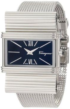 Ferragamo Women`s F69MBQ9999 S099 Renaissance Steel Bracelet Black Dial Watch $838.27