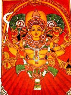 Bhagavathy, Kerala mural style Kerala Mural Painting, Tanjore Painting, Pichwai Paintings, Indian Art Paintings, Mural Art, Murals, Ganesha Painting, Indian Folk Art, Hindu Art