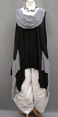 282ded42dedf Dtch the Pants use black leggins Bass~ BLACK stripe Asymmetrical Jersey  Roll neck Tunic~