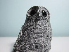 {vintage Big Eyed Owl, soapstone carving}