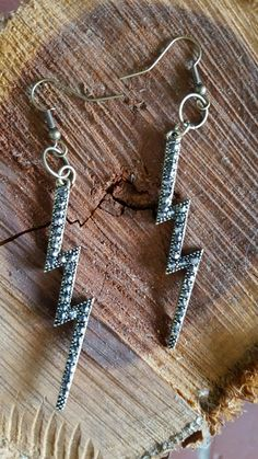 Gold and Black Rhinestone Lightning Bolt by FindingLifeDesigns