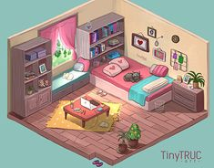 My dreamy room - Isometric, TiNy Truc Aesthetic Rooms, Aesthetic Anime, Aesthetic Art, Isometric Drawing, Isometric Design, Habbo Hotel, Casa Anime, Deco Studio, Studio Art